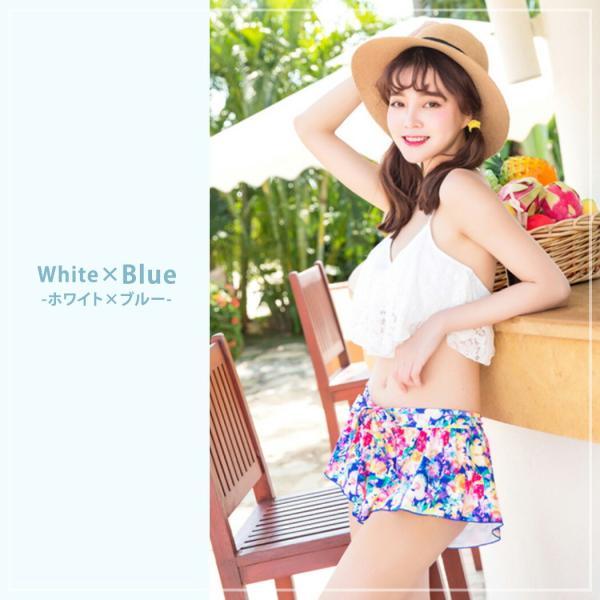 ビキニ 水着 レディース 3点セット 体型カバー 水着 大きいサイズ フレア レース ビキニ 花柄 白 黒 かわいい ショートパンツ mizuki-store 16