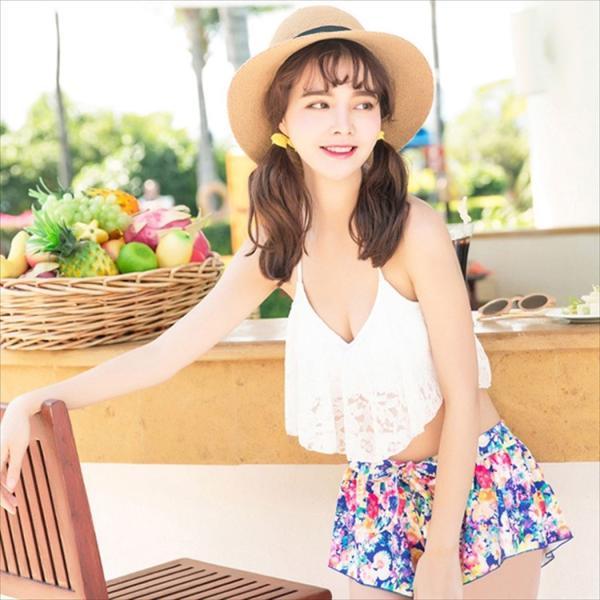ビキニ 水着 レディース 3点セット 体型カバー 水着 大きいサイズ フレア レース ビキニ 花柄 白 黒 かわいい ショートパンツ|mizuki-store|18