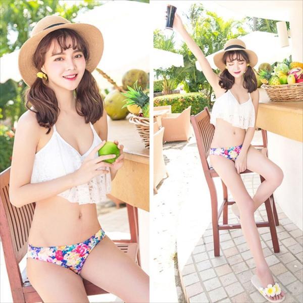 ビキニ 水着 レディース 3点セット 体型カバー 水着 大きいサイズ フレア レース ビキニ 花柄 白 黒 かわいい ショートパンツ mizuki-store 19