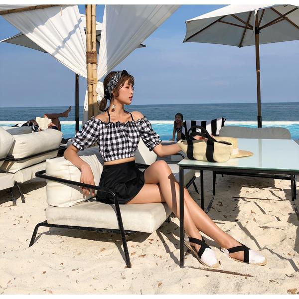 水着レディース ビキニ オフショルダー 体型カバー セパレート スカート ショートパンツ 4点セット ワイヤー入り 大人 ママ かわいい セクシー|mizuki-store|11
