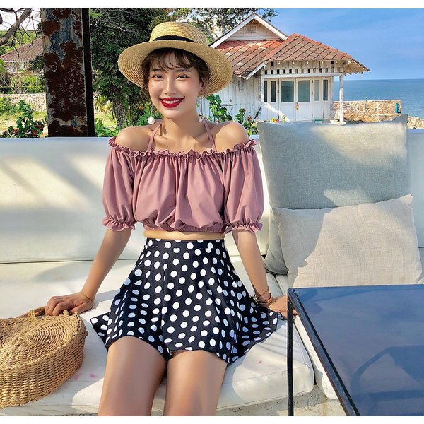 水着レディース ビキニ オフショルダー 体型カバー セパレート スカート ショートパンツ 4点セット ワイヤー入り 大人 ママ かわいい セクシー|mizuki-store|14
