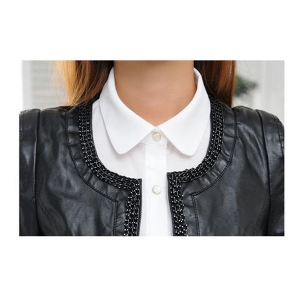 付け襟 レディース ビジュー 丸襟 シャツ つけ襟 コーディネート 重ね着 無地 パール付き 着膨れ防止 大きいサイズ 黒 白 ずれない ゴム付き|mizuki-store|10