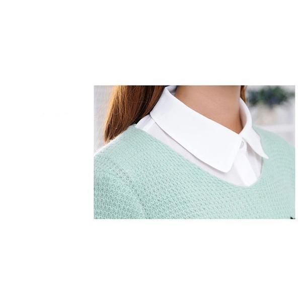 付け襟 レディース シャツ つけ襟 角襟 ビジュー コーデ自由自在 重ね着 無地 着膨れ防止 おしゃれ 大きいサイズ 黒 白 緑 ずれない ゴム付き キラキラ|mizuki-store|12