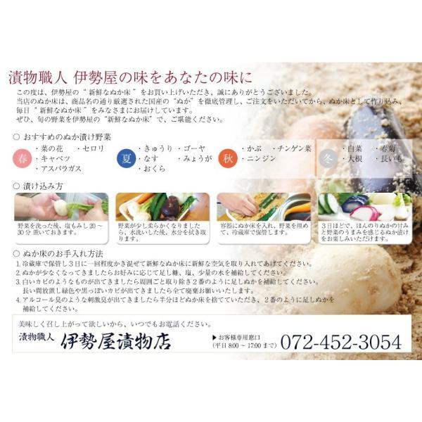ぬか床セット 初心者向けぬか漬けしおり 旬ぬか漬け1品 足しぬか300g 旨味の素 タッパー付き|mizunasuzukehannbai|06