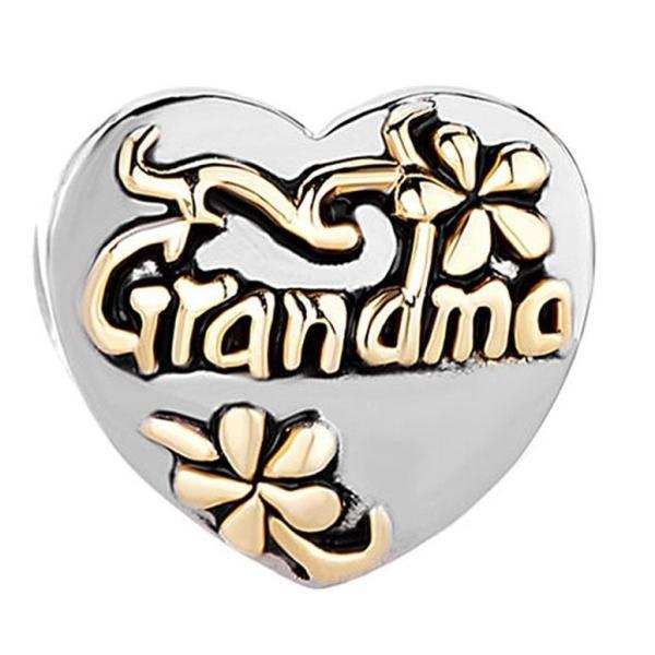 チャーム ブレスレット バングル用 CharmSStory チャームズストーリー Heart Floral Grandma Charms Beads Charms For Bracelets