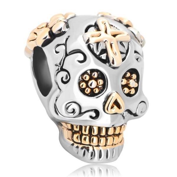 チャーム ブレスレット バングル用 LovelyJewelry ラブリージュエリー Sterling Silver Skull Cross Dia De Los Muertos Charm Beads For Bracelet