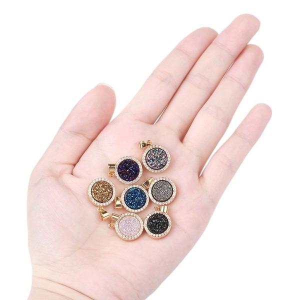 チャーム ブレスレット バングル用  ShinyJewelry シャイニージュエリー Round Agate Levelback Agate Quartz Pendant Gold Silver Plated Geode Druzy Gemstone