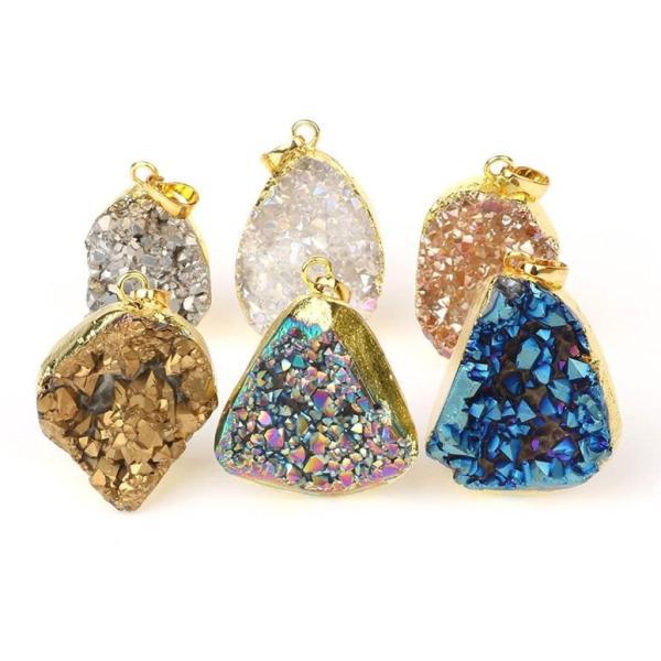 チャーム ブレスレット バングル用  ShinyJewelry シャイニージュエリー Mix Color Titanium Freeform Semi-Precious Stone Druzy Geode Pendant DIY Jewelry Ma