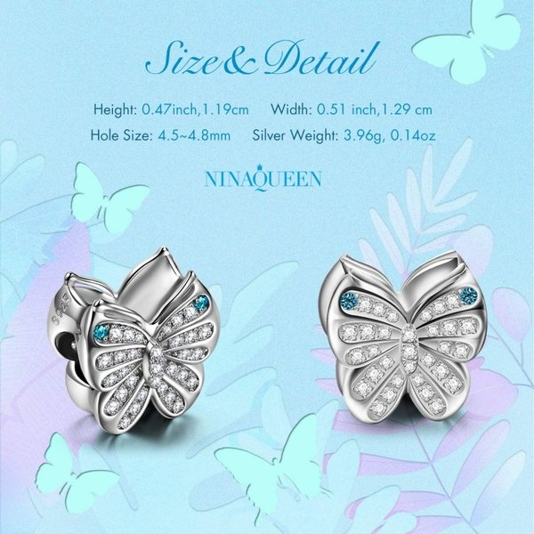 チャーム ブレスレット バングル用 Nina Queen スタイル ニーナ クイーン デザイン NINAQUEEN Butterfly Fairy 925 Sterling Silver Charms Fit for Bracelet Ne