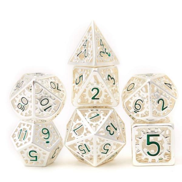 多面体ダイスセット ウォーゲーム Metal Dice Set d&d 7pcs Dungeon and Dragon Dice Punk Style RPG Games Math Teaching Hollow Flame Wheel Shape DND Di