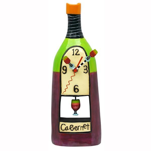 RoomClip商品情報 - ワイン カベルネ 赤ワイン ボトル キッチン 掛け時計 P8052 Wine Cabernet Clock アレン デザイン 振り子時計 Allen Designs