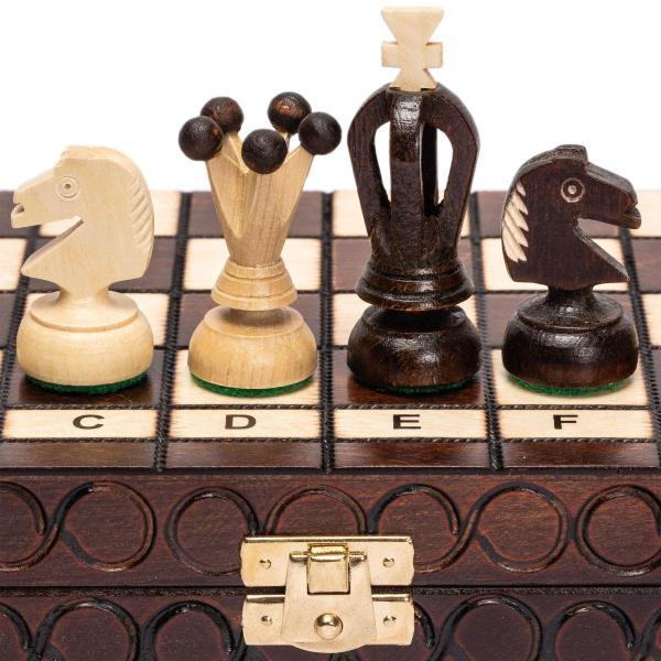 チェスセット  Husaria European International Chess Wooden Game Set - King's - 11.3-Inch