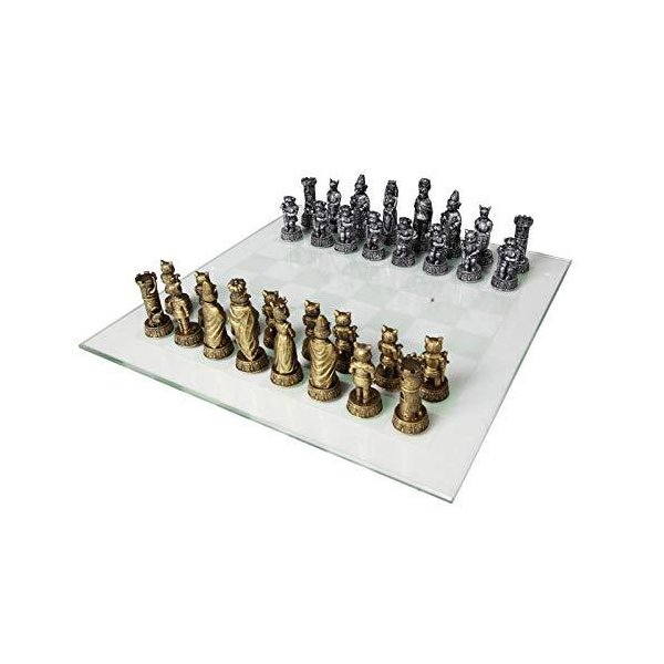 チェスセット  Cats Versus Dogs Chess Set 3.5 Inch Tall Hand Painted with Glass Board