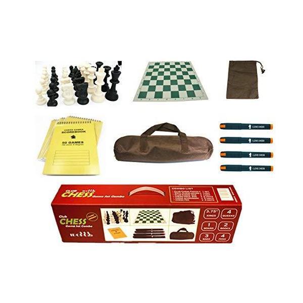 """チェスセット  Professional Staunton Chess Set Combo, 3.75"""" King 4-Queens 20"""" Roll-up Board 22"""" Chess Bag 100 Moves Scorebook & Pens Tournament"""