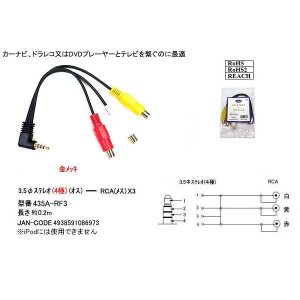RCA(L/R/V)→4極3.5mmφ変換ケーブル 0.2m