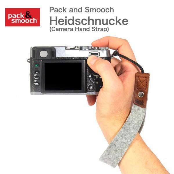 パック アンド スムーチ ハウドシュヌーク Pack and Smooch Heidschnucke ウールフェルト製 カメラハンドストラップ ドイツ製 ハンドメイド 牛革|mjsoft