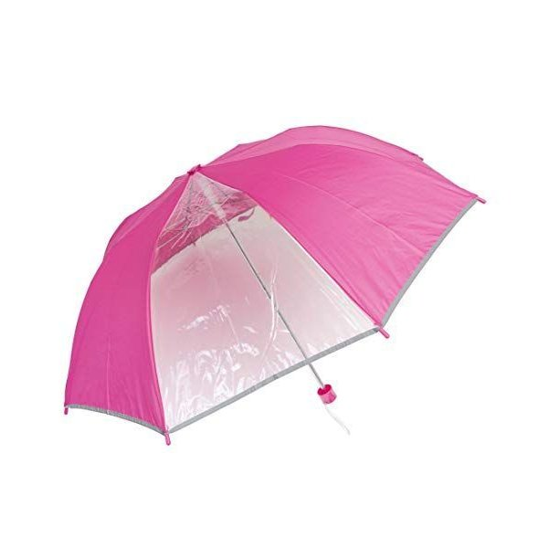 子供用折りたたみ傘1コマ透明安全反射テープ付きこども用傘(ピンク)
