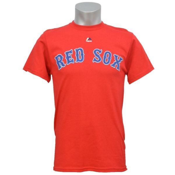 MLB レッドソックス ダスティン・ペドロイア Tシャツ レッド マジェスティック Player Tシャツ|mlbshop|02