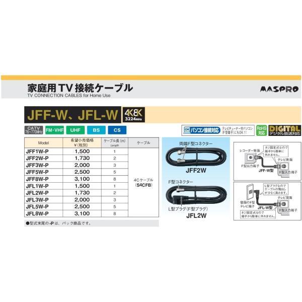 マスプロ 4K・8K衛星放送(3224MHz)対応 家庭用 テレビ接続ケーブル 8m JFL8W-P (片端L型プラグ(F型プラグ)・片端F型コネクター)