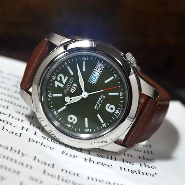 セイコー 逆輸入 セイコー5 海外モデル SEIKO5 メンズ 自動巻き 腕時計 グリーン文字盤 ブラウンレザーベルト SNKE59K1 BCM003CS|mmr2|02