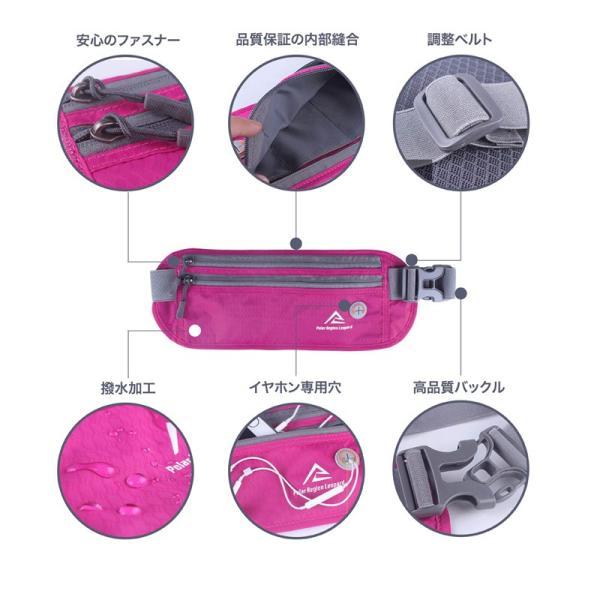ウエストポーチ セキュリティポーチ スキミング RFID メンズ レディース 薄型 軽量 アウトドア 旅行 ジョギング サイクリング S&E mnet 04