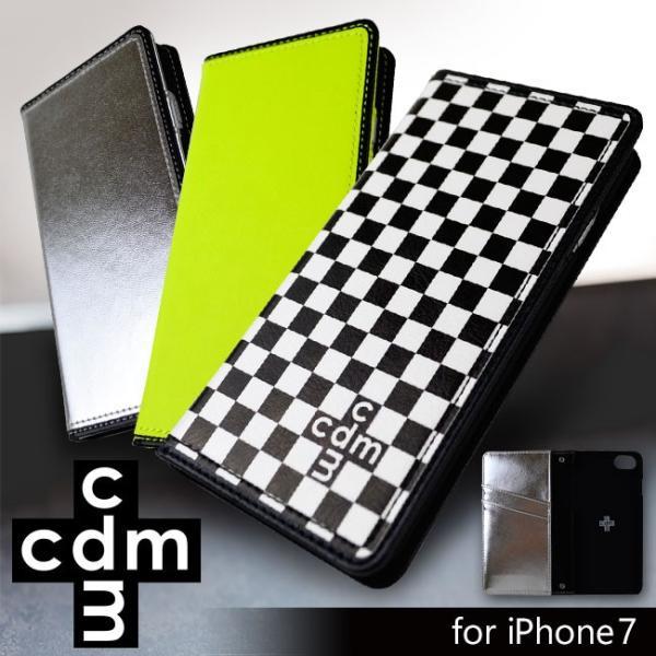 iPhone7 cdm(シーディーエム) 「ベーシック (3color)」 手帳型ケース 市松模様 ネオン iPhone6s/6|mobile-f