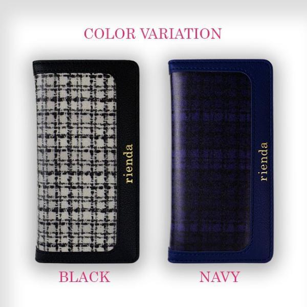 iPhone7 rienda/リエンダ 「フレーム/ツイードプリント」 スマホケース 手帳型 ブランド iPhone6s/6|mobile-f|02