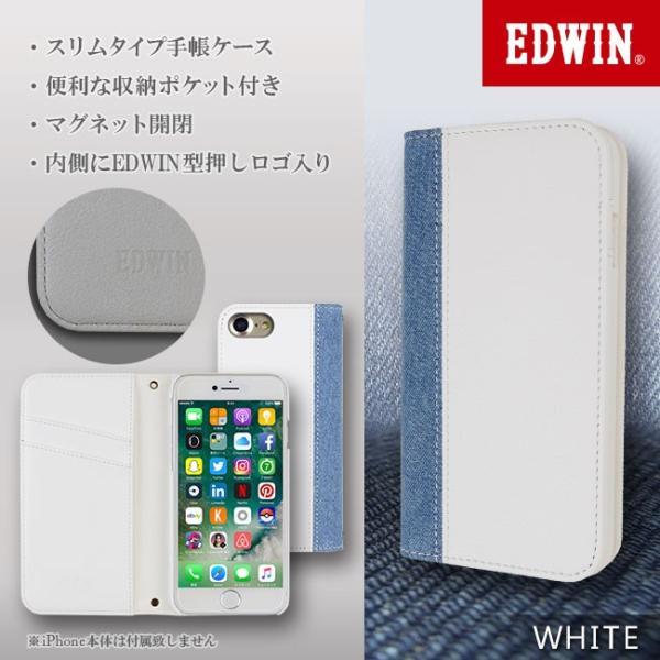 iPhone8 EDWIN/エドウィン 「センターデニム」 ブランド シンプル 手帳型ケース iPhone7/6s/6|mobile-f|04