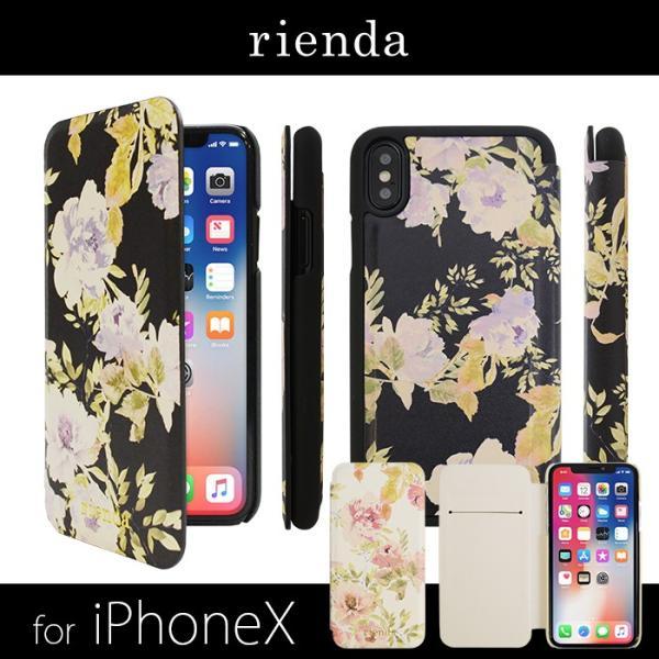 iPhoneX rienda 薄型 花柄プリント 手帳ケース 「VINTAGE ROSE」|mobile-f