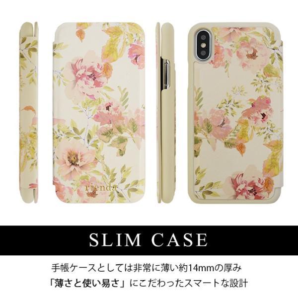 iPhoneX rienda 薄型 花柄プリント 手帳ケース 「VINTAGE ROSE」|mobile-f|02