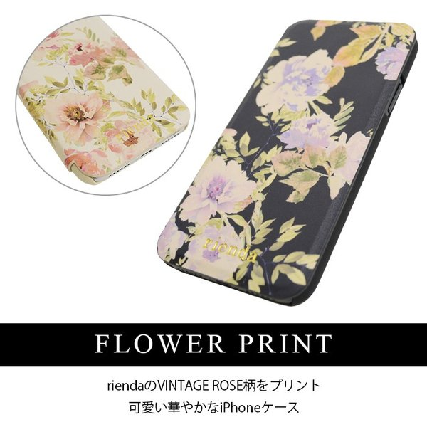 iPhoneX rienda 薄型 花柄プリント 手帳ケース 「VINTAGE ROSE」|mobile-f|03