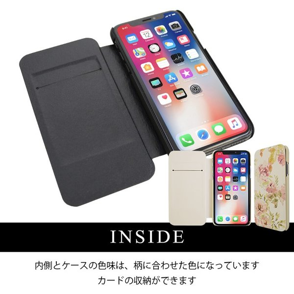 iPhoneX rienda 薄型 花柄プリント 手帳ケース 「VINTAGE ROSE」|mobile-f|04