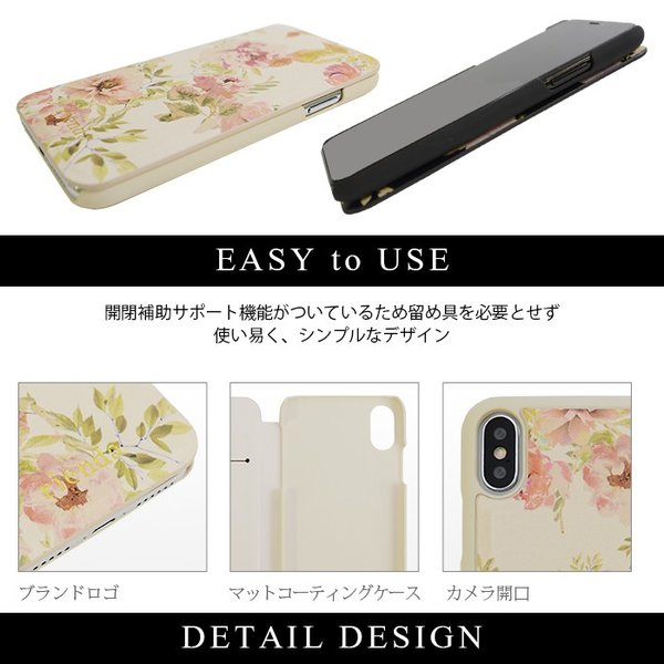 iPhoneX rienda 薄型 花柄プリント 手帳ケース 「VINTAGE ROSE」|mobile-f|05