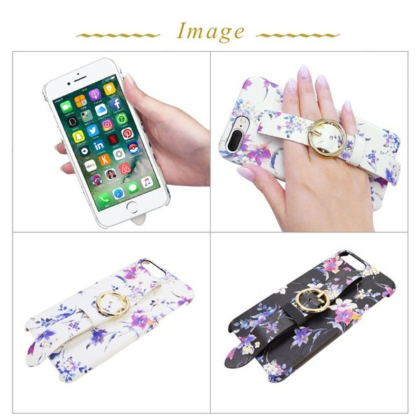 iPhone8Plus iPhone7/6plus rienda/リエンダ 「ブラーフラワー」 ベルト付き 背面ケース ブランド 花柄|mobile-f|03