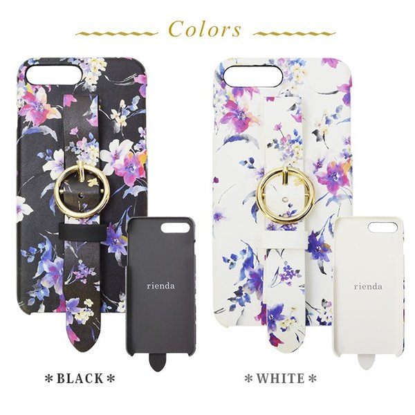 iPhone8Plus iPhone7/6plus rienda/リエンダ 「ブラーフラワー」 ベルト付き 背面ケース ブランド 花柄|mobile-f|04