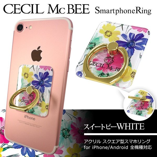 CECIL McBEE セシルマクビー スマホリング 「スクエア」 バンカーリング 落下防止 スマートフォン iPhone アクセサリ Xperia Galaxy|mobile-f|03