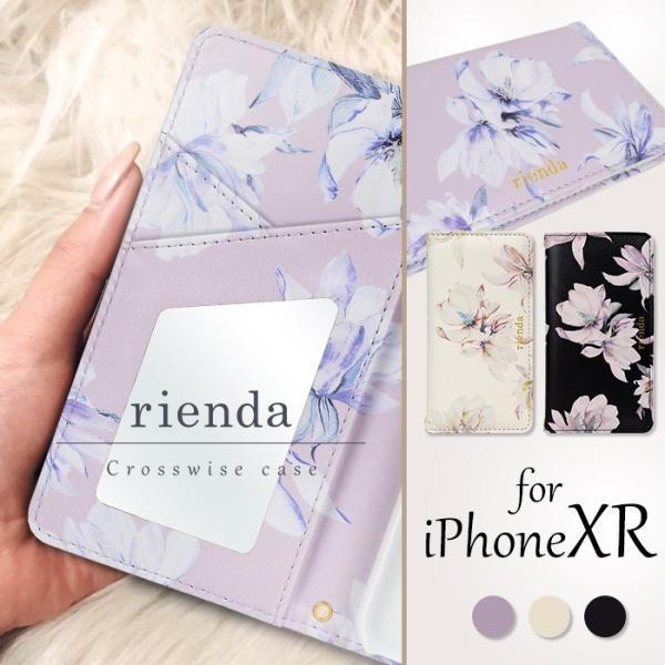 iPhoneXR 手帳ケース rienda 「テンダーフラワー」 リエンダ 手帳型ケース iphone アイフォン ケース 花柄 iPhone XR アイフォンxr|mobile-f