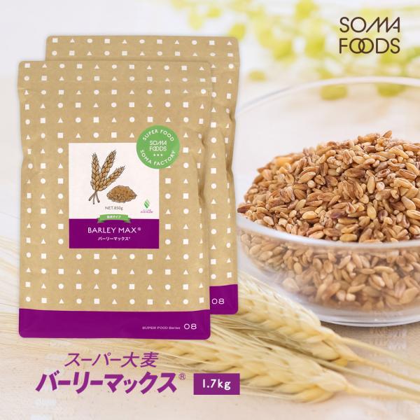 スーパー大麦 バーリーマックス 大容量 1.7kg (850g×2袋) 食物繊維が大麦の2倍 糖質 制限 オフ ダイエット 大腸 押し麦 もち麦 雑穀 送料無料