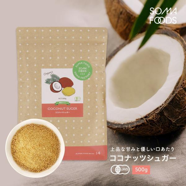 有機JAS認定 オーガニック ココナッツシュガー 大容量 500g スリランカ産 低GI 砂糖 無添加 無漂白 粉末 お徳用 ココナツ 椰子の実 甘味料 送料無料