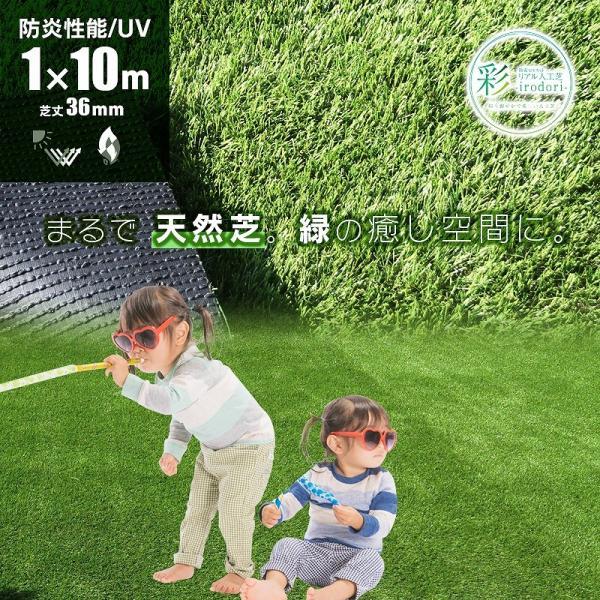 防炎リアル人工芝 [U字ピン20本入] 1m×10m 芝丈36mm [彩-IRODORI-] UV ロールタイプ人工芝 綺麗 高密度 高級 芝|mobimax2