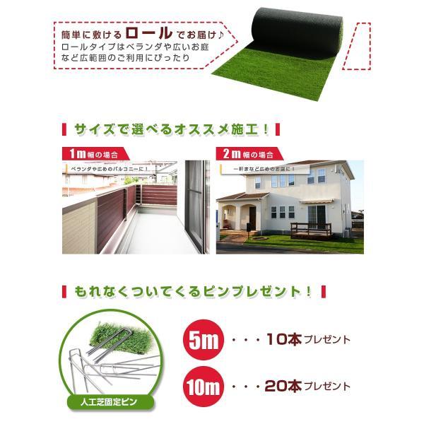 人工芝 ロール 1m×10m 芝丈30mm 高密度最高級品質 防炎・UVカット・耐久 リアル人工芝 庭 緑化 綺麗 高密度 高級 芝  [ 美麗 BIREI ]|mobimax2|05