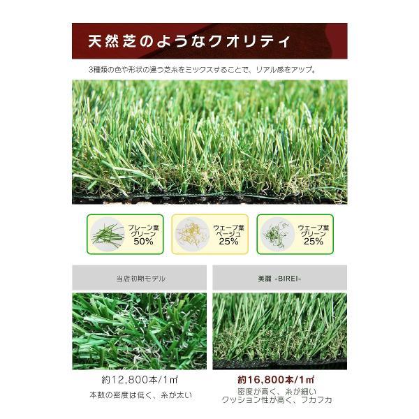 人工芝 ロール 1m×5m 芝丈30mm 高密度最高級品質 防炎・UVカット・耐久 リアル人工芝 庭 緑化 綺麗 高密度 高級 芝  [ 美麗 BIREI ]|mobimax2|12