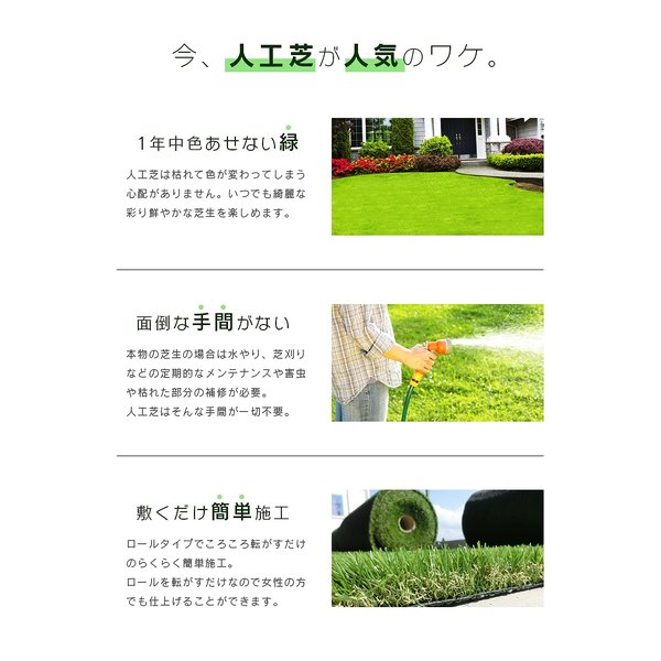 人工芝 ロール 2m×5m 芝丈30mm 高密度最高級品質 防炎・UVカット・耐久 リアル人工芝 庭 緑化 綺麗 高密度 高級 芝  [ 美麗 BIREI ]|mobimax2|02