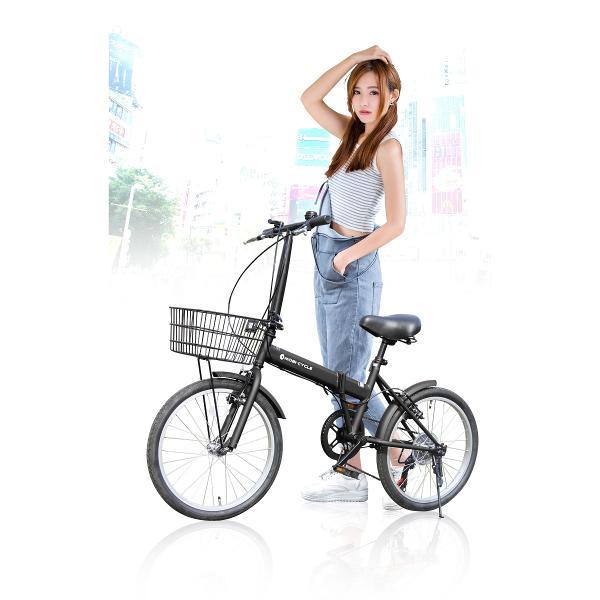 折りたたみ自転車 20インチ ノーパンクタイヤ カゴ付き シマノ6段ギア MOBI-CYCLE MB-05 自転車/折り畳み/カゴ付き|mobimax2|03