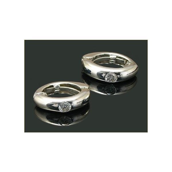 ピアリング ピアス イヤリング 0.1ct ダイヤモンド シンプル伏せ込みピアリング K14WG ラッピング無料 送料無料
