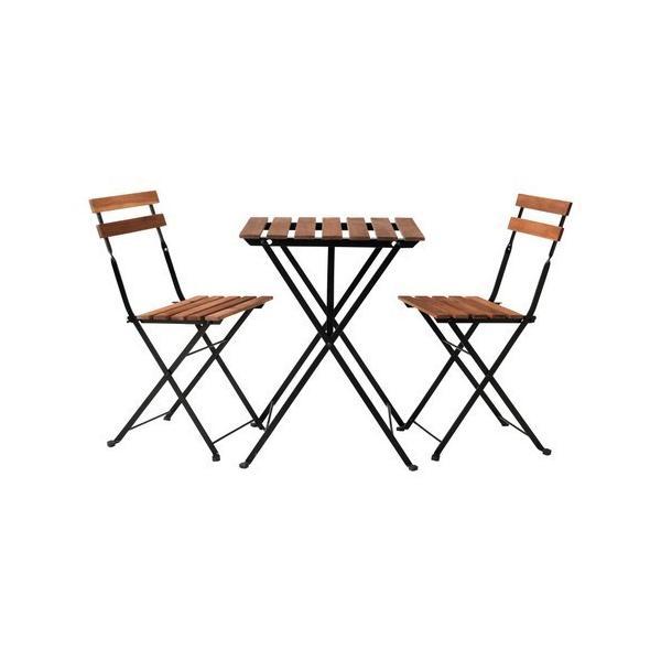 IKEA テーブル 折りたたみ ガーデンテーブルセット 屋外用家具 TARNOテーブル+チェア2 屋外用, ブラック アカシア材, (498.984.16)