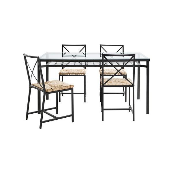 IKEA・イケア ダイニングテーブル・チェア GRANASテーブル&チェア4脚, ブラック, ガラス(502.720.60)