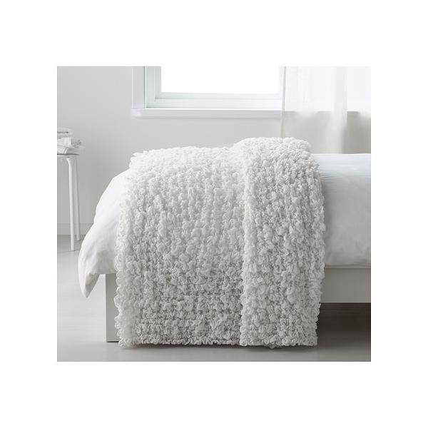 ベッドカバーひざ掛けベッドスプレッド毛布IKEAイケアオフェーリアOFELIAホワイト60173856
