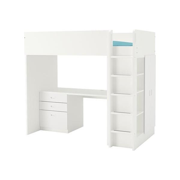 IKEA イケア STUVA FRITIDS ロフトベッドフレーム デスク&収納付き(引き出し×3/ ...