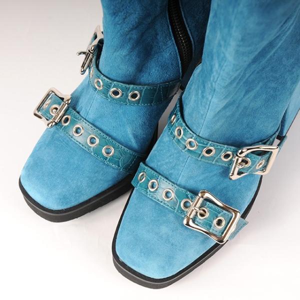 hs18AWIRS02 ブーツ ベルトショートブーツ ブルー 入夏コラボ ヒュリス